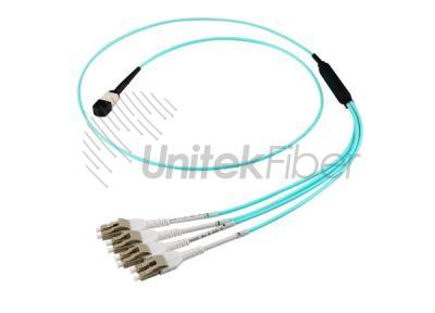 High-capacity Wiring OM3 OM4 MPO - LC Fiber Optic Patch Cord 8 Cores