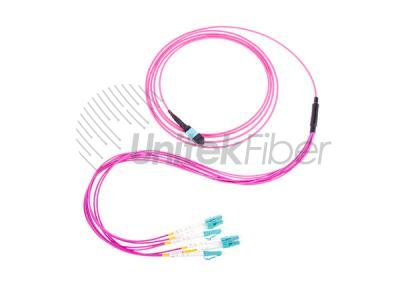 High Standard Type A 8 cores MPO Fiber Optical Jumper OM4 LSZH for FTTH