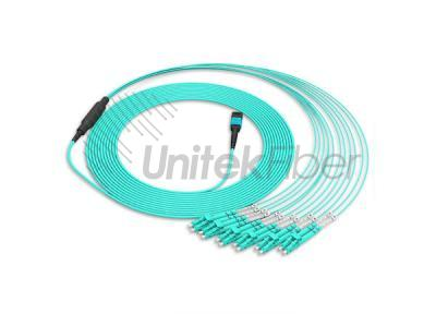 Supply 100Gb(QSFP) 12 Fibers MPO MTP to LC OM4 Bundle Fiber Patch Cable