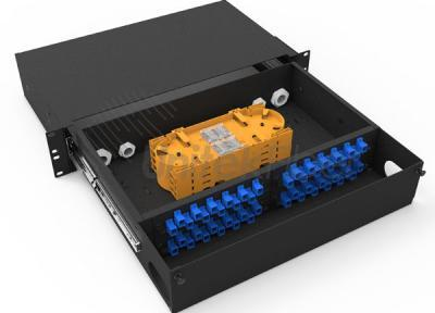 2U 48 Ports Rack Mount Fiber Optical Sliding ODF Box Installed with FC adapters and Pigtails