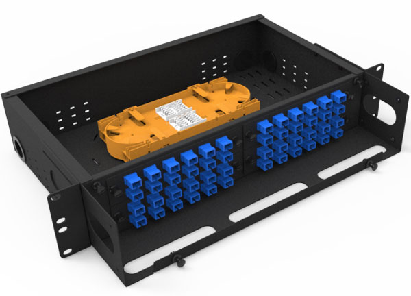 2U Fiber Optic ODF Frame Fixed Type 48 Port SC Simplex 96 cores LC Duplex for Cabling distribution System