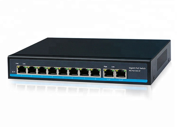 High Quality 8 Ports Gigabit CCTV Network Ethernet PoE Switch 48V 10/100 1000M