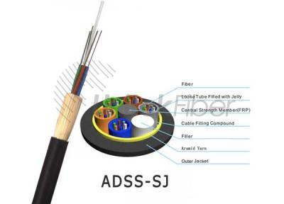 Single Jacket All-dielectric ADSS Fiber Cable 96cores 200m for Outdoor Telecommunications