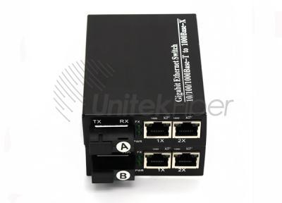 10/100/1000M Optical Fiber Media Converter With 2RJ45 Ports to Fiber Ethernet Switch