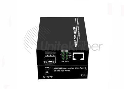 Optical Fiber Media Converter 10/100/1000M 1×RJ45 1×SFP Port Sing Mode