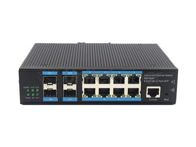 Customized 10M 100M 1000M 4 SFP Ports  8 RJ45 Ports Full Gigabit Managed Industrial Ethernet Switch