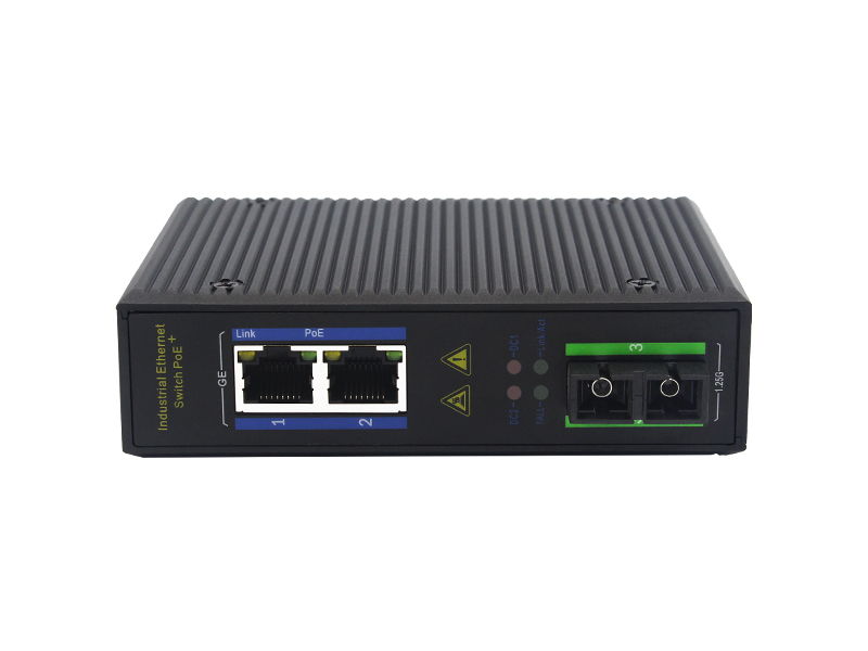 10/100/1000M RJ45 2 Ports + Optical Port Unmanaged industrial  PoE Ethernet Switch For Data Center